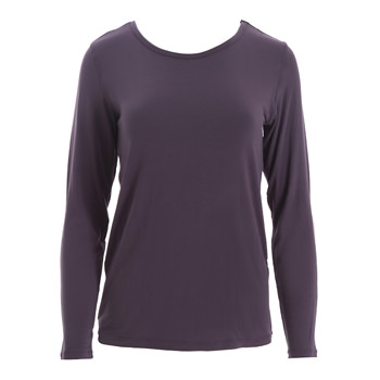 Solid Loosey Goosey Long Sleeve Tee in Fig