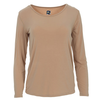Solid Loosey Goosey Long Sleeve Tee in Suede