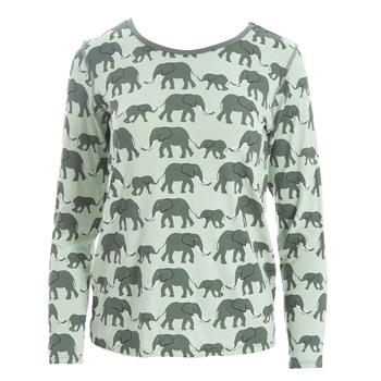 Print Loosey Goosey Long Sleeve Tee in Aloe Elephant