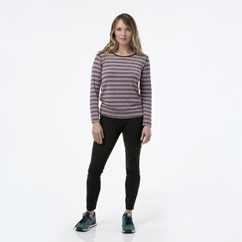 Print Loosey Goosey Long Sleeve Tee in Elderberry Kenya Stripe