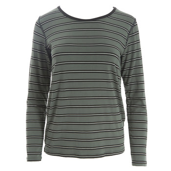 Print Loosey Goosey Long Sleeve Tee in Succulent Kenya Stripe