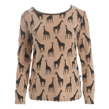Print Loosey Goosey Long Sleeve Tee in Suede Giraffe