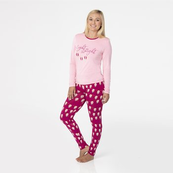 7b1052fbc9 Print Long Sleeve Fitted Pajama Set in Dragonfruit Lantern Festival