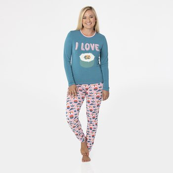 Print Long Sleeve Fitted Pajama Set in Lotus Sushi