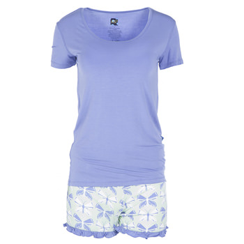 Print Short Sleeve Loose Scoop Neck Tee and Ruffle Short Outfit in Aloe Butterfly