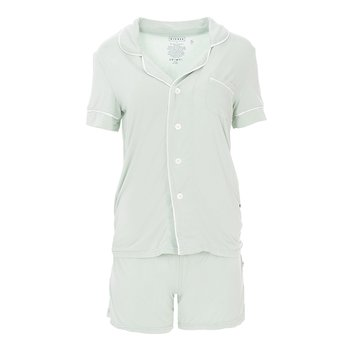 Solid Short Sleeve Collared Pajama Set with Shorts in Aloe with Natural