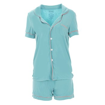 Solid Short Sleeve Collared Pajama Set with Shorts in Glacier with Strawberry