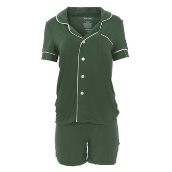 Solid Short Sleeve Collared Pajama Set with Shorts in Topiary with Aloe
