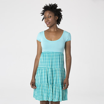Print Women's Sundress in Pistachio Gingham