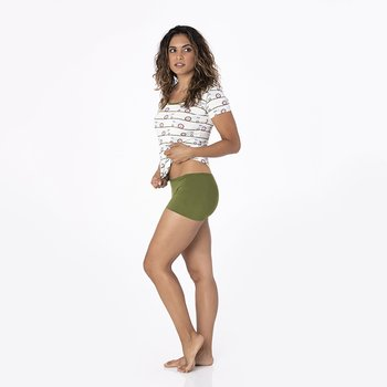 Solid Women's Boy Short Underwear in Pesto