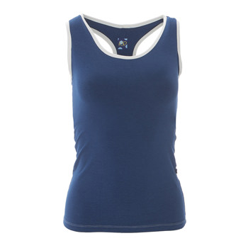 Solid Women's Performance Jersey Tank in Navy with Natural