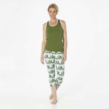 Solid Women's Performance Jersey Tank in Pesto with Spring Sky