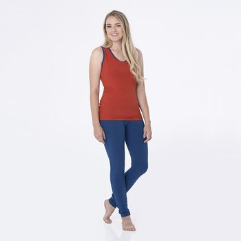 Solid Women's Performance Jersey Tank in Red Tea with Navy