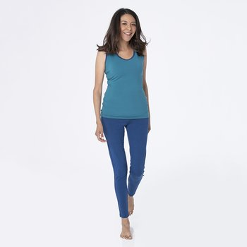 Solid Women's Performance Jersey Tank in Seagrass with Navy