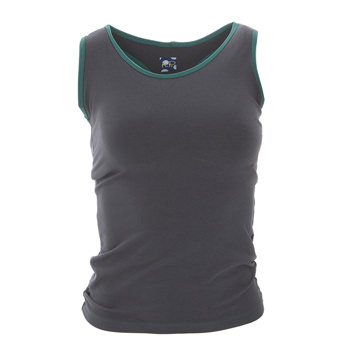 Solid Women's Performance Jersey Tank in Stone with Ivy