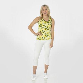 Print Women's Performance Jersey Tank in Lime Blossom Lemon Tree