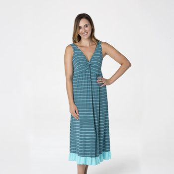 Print Twist Nightgown in Shining Sea Stripe