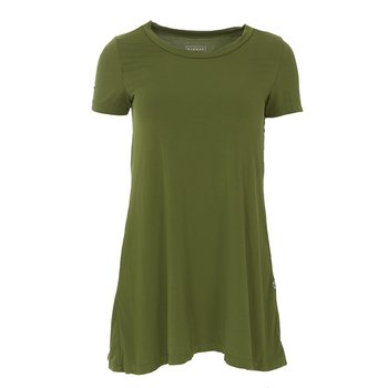 Solid Short Sleeve Tee Shirt Tunic in Pesto