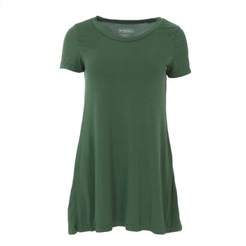 Solid Short Sleeve Tee Shirt Tunic in Topiary