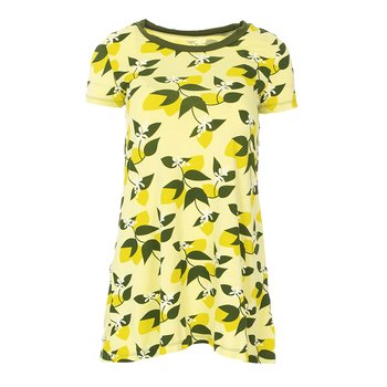 Print Short Sleeve Tee Shirt Tunic in Lime Blossom Lemon Tree