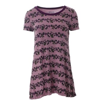 Print Short Sleeve Tee Shirt Tunic in Raisin Grape Vines