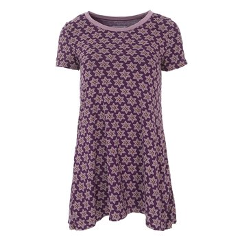 Print Short Sleeve Tee Shirt Tunic in Wine Grapes Saffron