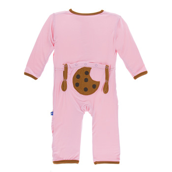 Applique Coverall with Zipper in Lotus Cookie