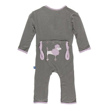 Applique Coverall with Zipper in Cobblestone Poodle