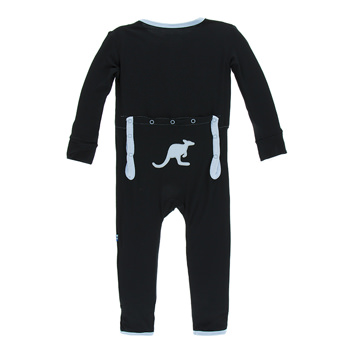 Applique Coverall with Zipper in Midnight Kangaroo