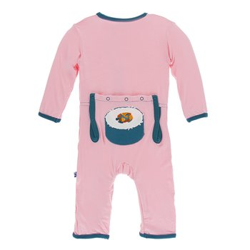 Applique Coverall with Zipper in Lotus Sushi