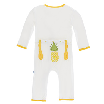 Applique Coverall with Zipper in Natural Pineapple