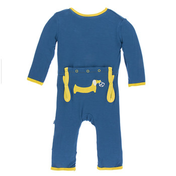 Applique Coverall with Zipper in Twilight Pretzel Pup