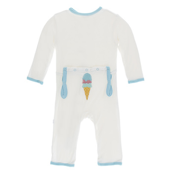 Applique Coverall with Zipper in Natural Ice Cream