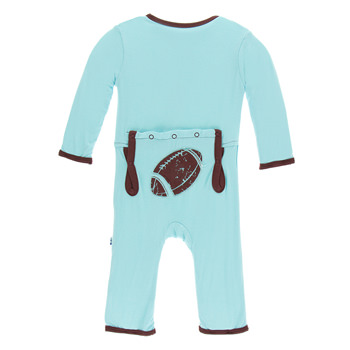 Applique Coverall with Zipper in Shining Sea Football