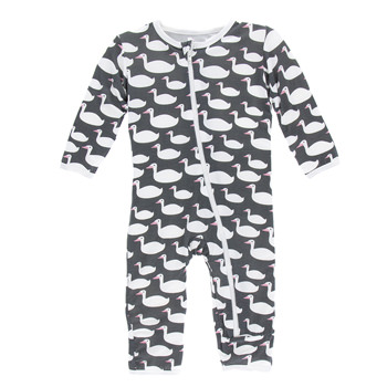 Print Coverall with Zipper in Stone Geese
