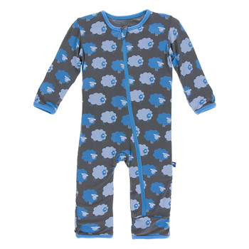 Print Coverall with Zipper in Stone Sheep