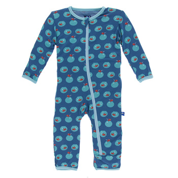 Print Coverall with Zipper in Twilight Fish Bowl
