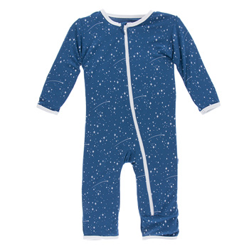 Print Coverall with Zipper in Twilight Starry Sky