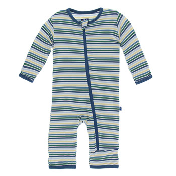 Print Coverall with Zipper in Boy Perth Stripe
