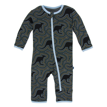 Print Coverall with Zipper in Midnight Kangaroo