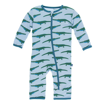 Print Coverall with Zipper in Pond Crocodile