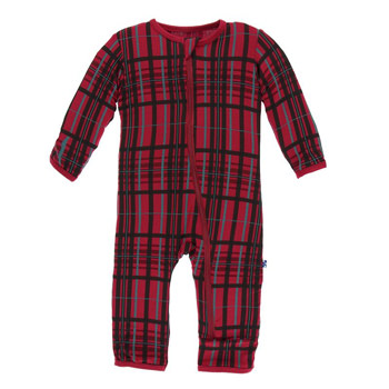 Print Coverall with Zipper in Christmas Plaid