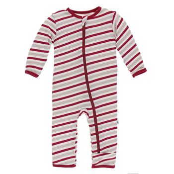 Print Coverall with Zipper in Rose Gold Candy Cane Stripe