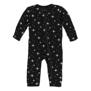 Print Coverall with Zipper in Rose Gold Bright Stars