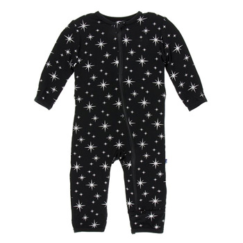 Print Coverall with Zipper in Silver Bright Stars
