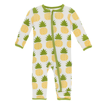 Print Coverall with Zipper in Natural Pineapple