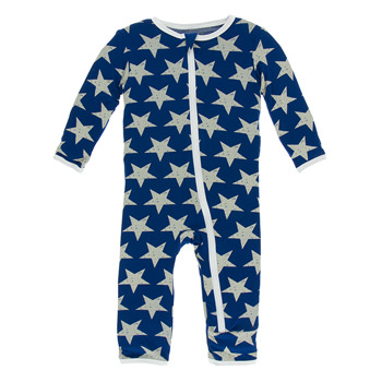 Print Coverall with Zipper in Vintage Stars