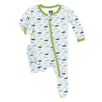 Print Footie with Zipper in Boy Dino Print