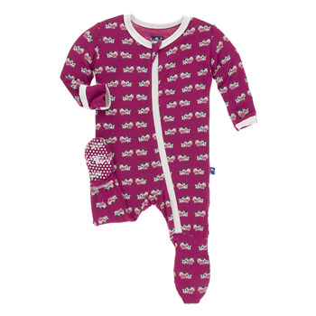 Print Footie with Zipper in Berry Cow