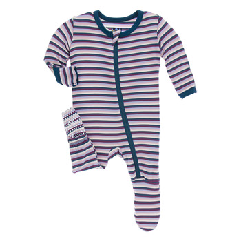 Print Footie with Zipper in Girl Anniversary Stripe
